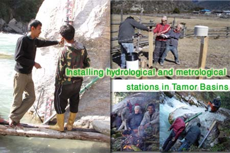 Feild installation of hydrological and metrological equipments in Tamor River's catchment area