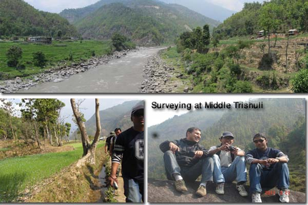 Site surveying in Middle Trishuli during feasibility study