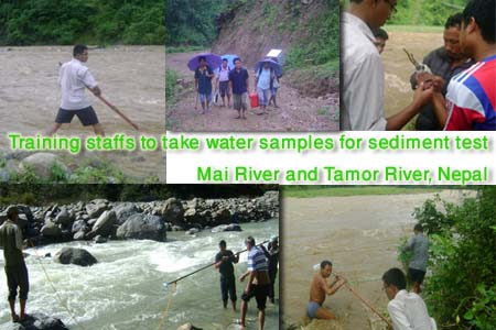 Training provided to local staff for sediment sampling in Mai and Tamor River during flood